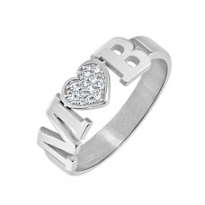 White Diamond Initial LOVE Ring Personalized Jewelry