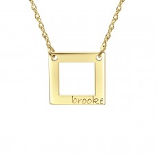 Yellow tiny POSH Engravable Cut Out Square Necklace Personalized Jewelry