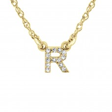 Yellow Gold Diamond Initial Necklace