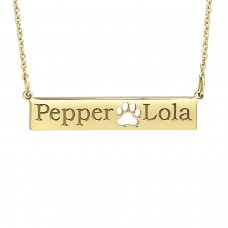 Yellow POSH Paw Bar Necklace