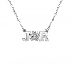Diamond Paw Print Initial LOVE Necklace