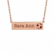 Small Rose Gold Soccer Bar Necklace