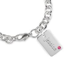 Mini Dog Tag Birthstone Bracelet