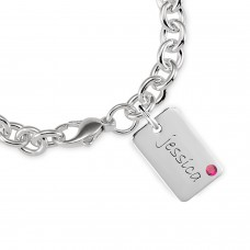 White Mini Dog Tag Birthstone Bracelet