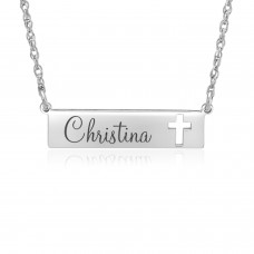 Sterling Silver Cross Bar Necklace