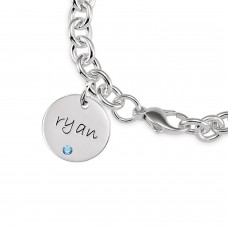 Three Birthstone Discs Bracelet Personalized Jewelry