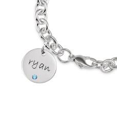 Three Birthstone Discs Bracelet Personalized Jewelry