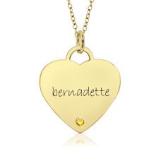 Vermeil Birthstone Eternal Heart Mommy Necklace