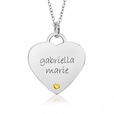 White Gold Eternal Heart Birthstone Mommy Necklace Personalized Jewelry