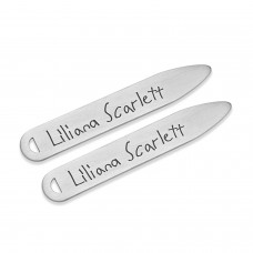 Silver Handwriting Collar Stays