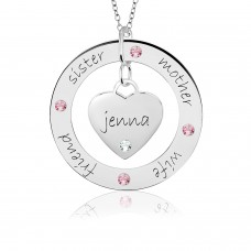 POSH Loop & Sweetheart with Birthstones Mommy Necklace