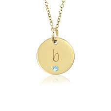 posh lowercase Vermeil Initial Birthstone Disc Personalized Jewelry