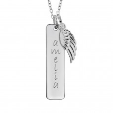 Tall Tag + Wing Charm | POSH Mommy Personalized Jewelry