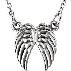 White tiny POSH Angel Wings Necklace