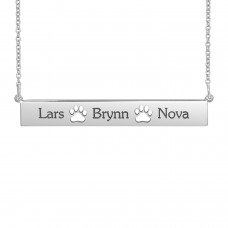 Sterling Silver POSH Paw Bar Necklace with Three Names