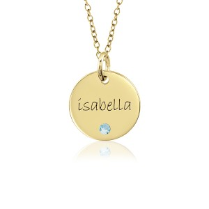 Vermeil Mommy Birthstone Disc Necklace Personalized Jewelry