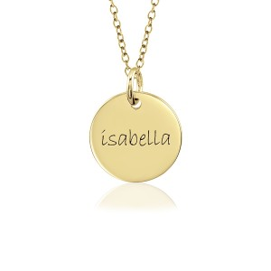 One Yellow Gold Disc Mommy Necklace Personalized Jewelry
