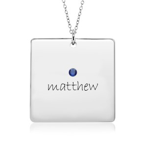 One Name POSH Birthstone Square Mommy Necklace Personalized Jewelry