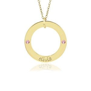 One Name Vermeil Birthstone WEE Loop Mommy Necklace Personalized Jewelry
