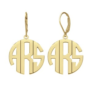Yellow Fashion Block Monogram Earrings Personalized Jewelry