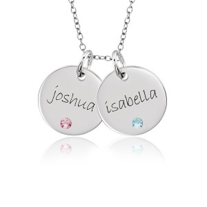 Two Mommy Birthstone Discs Necklace Personalized Jewelry