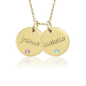 Two Vermeil Birthstone Discs Necklace Personalized Jewelry