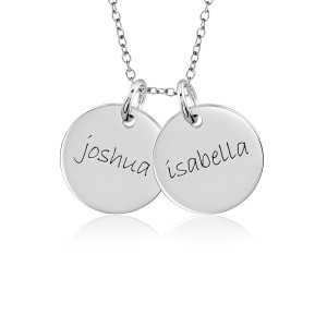 Two Gold Discs Mommy Necklace Personalized Jewelry
