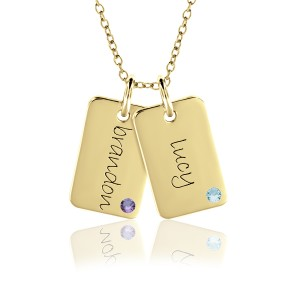 Two Vermeil Birthstone Mini Dog Tags Mommy Necklace Personalized Jewelry