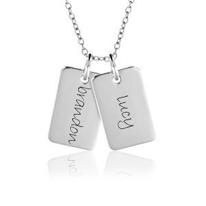 Two Gold Mini Dog Tags Mommy Necklace Personalized Jewelry
