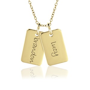 Two Vermeil Mini Dog Tags Mommy Necklace Personalized Jewelry