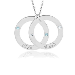 Two Birthstone Wee Loops Necklace Personalized Jewelry
