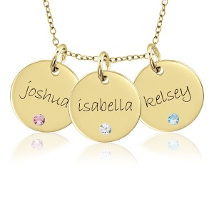 Three Vermeil Birthstone Disc Necklace Personalized Jewelry