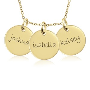 Three Vermeil Mommy Discs Necklace Personalized Jewelry