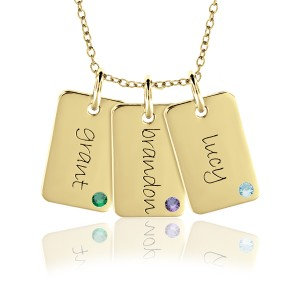 Three Vermeil Birthstone Mini Dog Tags Mommy Necklace Personalized Jewelry
