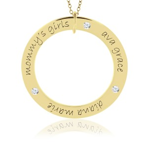 Three Name Forever Vermeil Birthstone Loop Mommy Necklace Personalized Jewelry