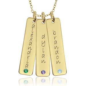 Three Birthstone Tall Tags Mommy Necklace Personalized Jewelry