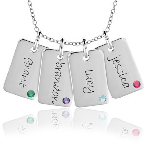 Four Gold Birthstone Mini Dog Tags Mommy Necklace Personalized Jewelry