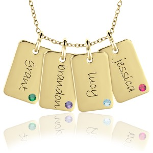 Four Birthstone Mini Dog Tags Mommy Necklace Personalized Jewelry
