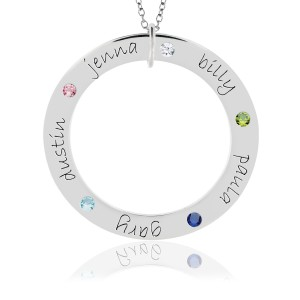 White Gold Five Name Forever Birthstone Loop Mommy Necklace Personalized Jewelry