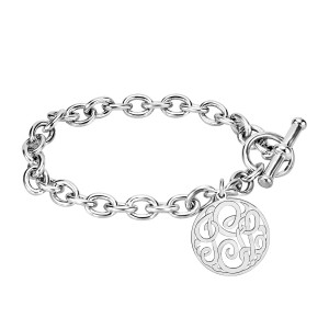 White Loop Monogram Toggle Bracelet Personalized Jewelry