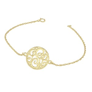 Yellow Loop Monogram Bracelet Personalized Jewelry