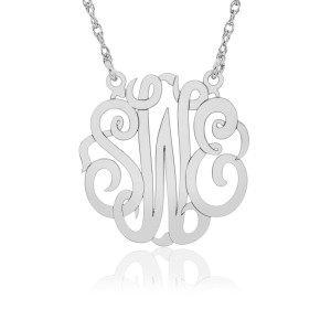 White POSH Script Monogram Necklace Personalized Jewelry