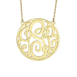 Yellow POSH Loop Monogram Necklace Personalized Jewelry