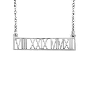Date Bar Necklace Roman Numerals Jewelry