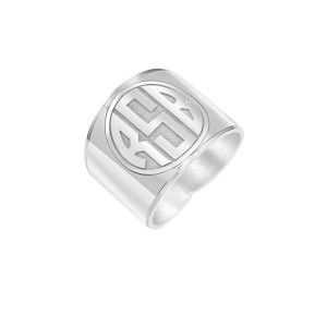 White Vintage Block Monogram Ring