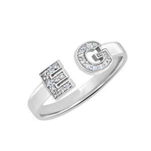 White Diamond Initial Ring