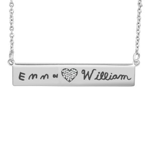 Handwriting Diamond POSH Bar Necklace