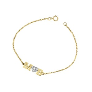 Yellow Diamond Initial LOVE Bracelet Personalized Jewelry