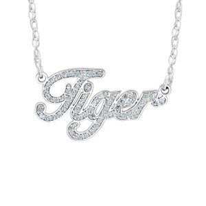 Sterling Silver Diamond Nameplate Personalized Jewelry Diamond Name Necklace