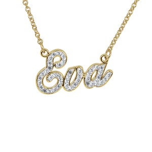 Yellow Diamond Briana Nameplate Personalized Jewelry Diamond Name Necklace